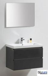 Blusani Orlando meubelset 80 cm. wastafel spiegel antraciet hoogglans BR0108005