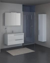 Isani Akron meubelset met greep hoogglans wit 90x46cm 1 krg 2 laden spiegelkast 60040301