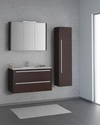 Isani Akron meubelset met greep donker kastanje 90x46cm 1 krg 2 laden spiegelkast 60040202