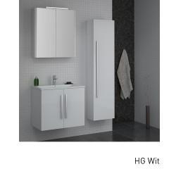Isani Akron meubelset met greep hoogglans wit 60x46cm 1 krg 2 deuren spiegelkast 60020201D