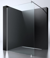 Blusani Minimal Inloopdouche 115x2000 cm chroom helder glas met antikalk 38BS80030