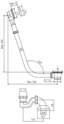 PB badafvoer met ketting voor vrijstaand bad RVS 543BN
