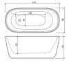Design vrijstaand bad 154x68 solid surface mat wit 1208787862