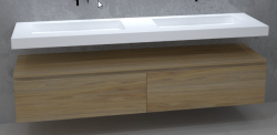 TopLine Utrecht massief eiken naturel badmeubel 140x50x35cm met topblad en met greeploze en softclose laden 1208912632