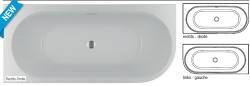 RIHO Desire Corner semi vrijstaand acryl bad rechts 180x84, wit, incl. pootset/badafvoer 1208915932