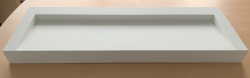 Solid-S Quatra wastafel solid surface mat wit zonder kraangat met solid cover B140xD48xH10 1208919569