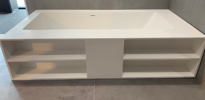 Solid-S Pisa solid surface vrijstaand ligbad met vakjes 202x102x50cm mat wit 1208919598