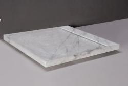 Forzalaqua FRESCO marmere douchebak Carrara gepolijst 90x90x5cm inclusief rvs goot 300019