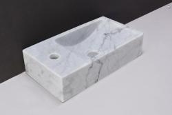 Forzalaqua VENETIA marmeren fontein Carrara gepolijst 40x22x10cm met kraangat links 100431