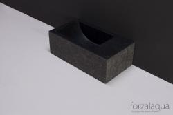 Forzalaqua VENETIA xs fontein graniet gebrand links 29 x 16 x 10 cm met kraangat links 8010295 kloon 23-01-2019 12:08:41