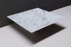 Forzalaqua Milano marmeren opbouw opzetkom vierkant Carrara marmer gepolijst 45 x 45 x 12 cm zonder overloop 100437