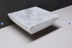 Forzalaqua Siracusa marmeren opbouw opzetkom vierkant Carrara marmer gepolijst 40 x 40 x 15 cm zonder overloop 100439