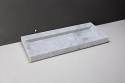 Forzalaqua BELLEZZA marmeren wastafel Carrara marmer gepolijst 120,5 x 51,5 x 9 cm geen kraangat 100467