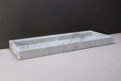 Forzalaqua Palermo marmeren wastafel Carrara marmer gepolijst 120,5 x 51,5 x 9 cm zonder kraangat 100480