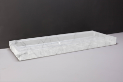 Forzalaqua Palermo marmeren wastafel Carrara marmer gepolijst gekapt 120,5 x 51,5 x 9 cm zonder kraangat 100501