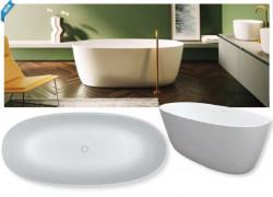 Riho Oval vrijstaand bad 160x72cm solid surface mat wit BS67005