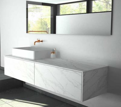 TopLine badmeubelset keramisch marmerlook - 2 lades - 100x45x90cm - inclusief keramisch marmerlook topblad voor een of twee waskommen