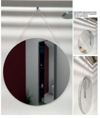 Aquadesign Rope ronde spiegel 60cm met frame 16mm wit