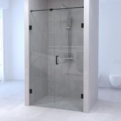 Aquadesign Minimal douchedeur met vast deel  geborsteld zwart beslag profielloos
