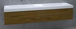 TopLine Amsterdam massief eiken badmeubel 120x50x35cm kleur dark oak met greeploze en softclose laden 1208946942