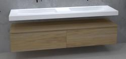 TopLine Utrecht massief eiken badmeubel 130x50x35cm met topblad kleur Natural - 2 lades 1208947039