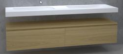 TopLine Utrecht massief eiken badmeubel 210x50x35cm met topblad kleur Mist - 2 lades 1208947060