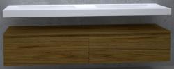 TopLine Utrecht massief eiken badmeubel 220x50x35cm met topblad kleur Dark Oak - 2 lades 1208947075