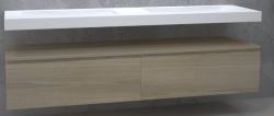 TopLine Utrecht massief eiken badmeubel 120x50x35cm met topblad kleur Smoke - 2 lades 1208947105