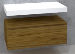 TopLine Utrecht massief eiken badmeubel 60x50x35cm met topblad kleur Dark Oak - 1 lade 1208947143