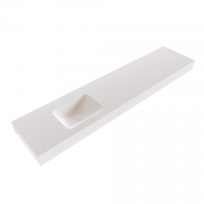 Solid-S Grunne solid surface vrijhangende wastafel 200x41x12cm mat wit - 1 wasbak links 1208947508