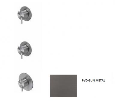 Waterevolution Flow inbouw douchethermostaat met 2 stopkranen gun metal 1208948847
