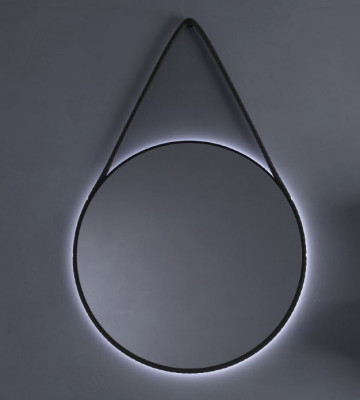 TopLine Spiegel rond mat zwart met indirecte LED verlichting 100cm 1208952242