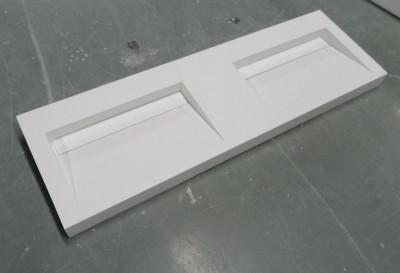 Solid-S Quatra dubbele wastafel solid surface mat wit zonder kraangat met solid cover B160xD45xH8cm 1208952415