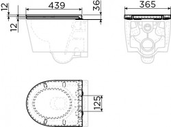 Clou InBe toiletzitting met deksel soft-closing wit technische tekening