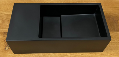 Solid-S Fontein solid surface B36xD18xH10 cm mat zwart met cover 1208953168