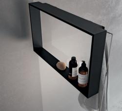 Design Bath douchenis doucherek en handdoekhaak mat zwart voor over douchewand 12089532935