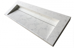 Solid-S Marble wastafel solid surface mat wit marmer mat zonder kraangat met solid cover B160xD45xH8 1208953456