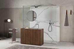 Makro MODULO30 staand badkamermeubel noten fineer met solid surface wastafel mat wit B120xH85xD40cm