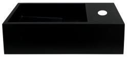 Solid-S Fontein solid surface mat zwart B36xD18xH10 cm met cover model rechts met kraangat 1208954163