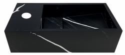 Solid-S Marble solid surface fontein B36xD18xH10cm marmer mat zwart  links met kraangat 1208954637