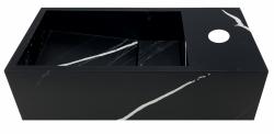 Solid-S Marble solid surface fontein B36xD18xH10cm marmer mat zwart  rechts met kraangat 1208954638