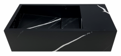 Solid-S Marble solid surface fontein B36xD18xH10cm marmer mat zwart  rechts zonder kraangat 1208954639